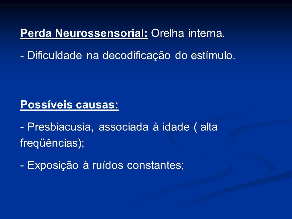 Perda Neurossensorial: Orelha interna. - Dificuldade na decodificação do estímulo. Possíveis causas: - Presbiacusia, associada à idade ( alta freqüênc