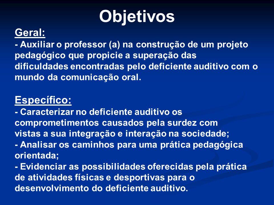 Objetivos Geral: - Auxiliar o professor (a) na construção de um projeto pedagógico que propicie a superação das dificuldades encontradas pelo deficien