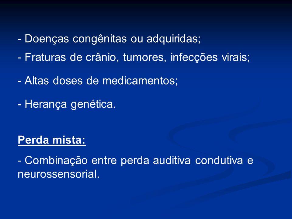 - Doenças congênitas ou adquiridas; - Fraturas de crânio, tumores, infecções virais; - Altas doses de medicamentos; - Herança genética. Perda mista: -