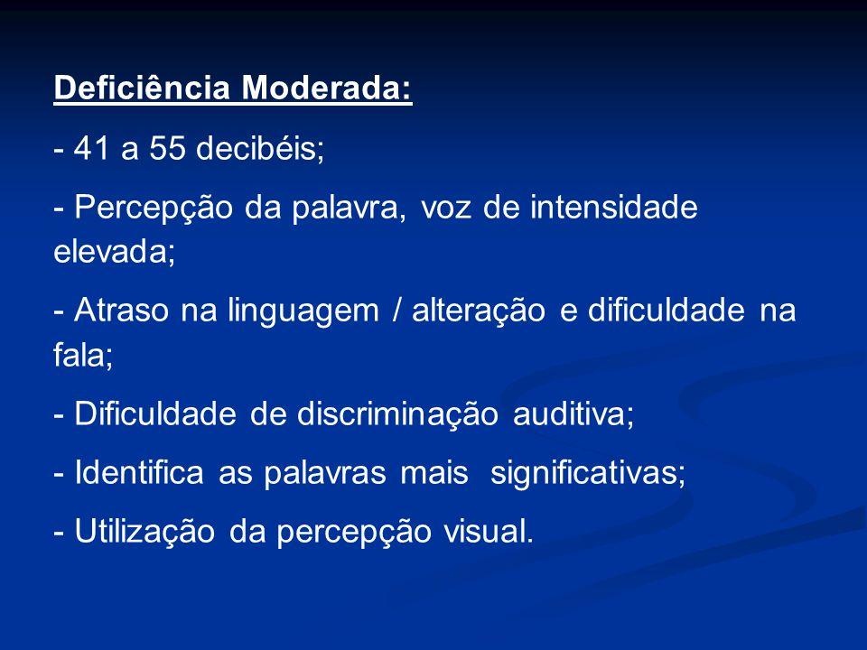 Deficiência Moderada: - 41 a 55 decibéis; - Percepção da palavra, voz de intensidade elevada; - Atraso na linguagem / alteração e dificuldade na fala;