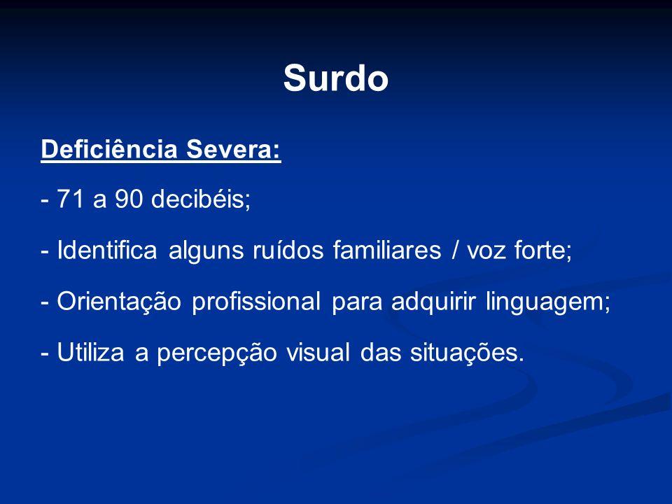 Surdo Deficiência Severa: - 71 a 90 decibéis; - Identifica alguns ruídos familiares / voz forte; - Orientação profissional para adquirir linguagem; -