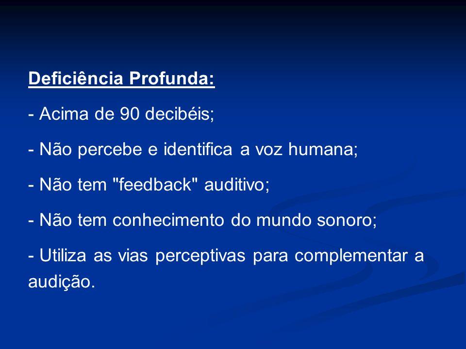 Deficiência Profunda: - Acima de 90 decibéis; - Não percebe e identifica a voz humana; - Não tem