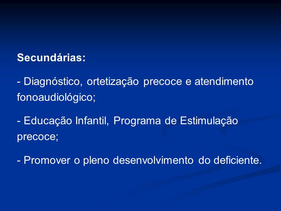 Secundárias: - Diagnóstico, ortetização precoce e atendimento fonoaudiológico; - Educação Infantil, Programa de Estimulação precoce; - Promover o plen