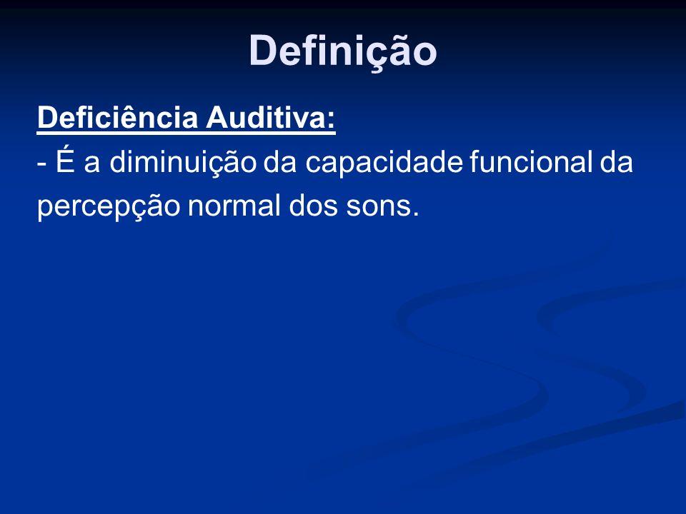 Definição Deficiência Auditiva: - É a diminuição da capacidade funcional da percepção normal dos sons.
