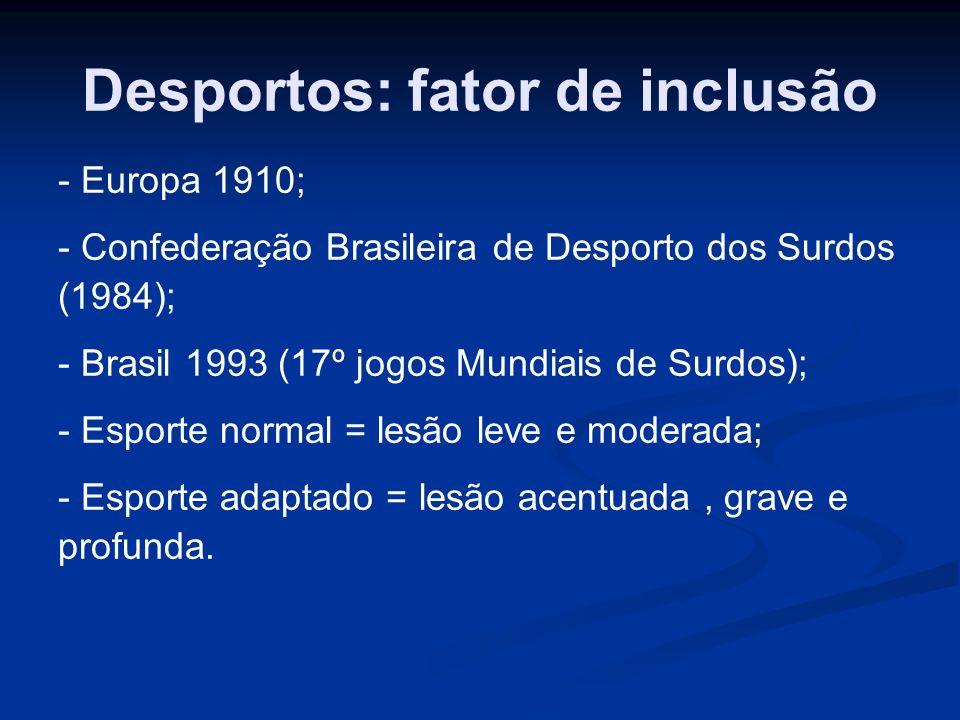 Desportos: fator de inclusão - Europa 1910; - Confederação Brasileira de Desporto dos Surdos (1984); - Brasil 1993 (17º jogos Mundiais de Surdos); - E