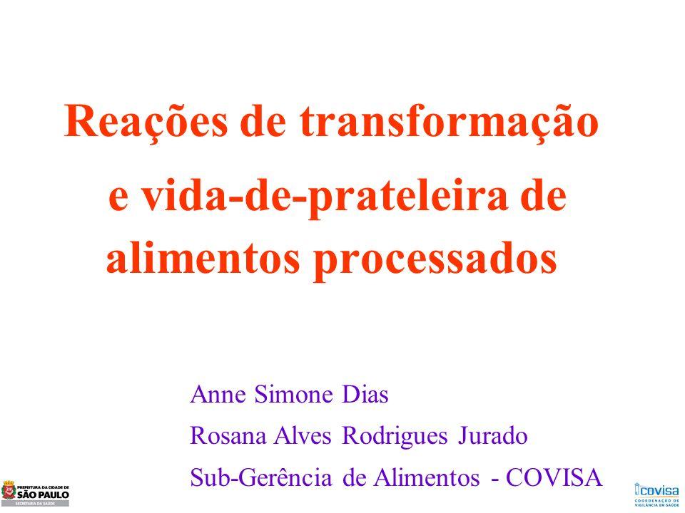 Reações de transformação e vida-de-prateleira de alimentos processados Anne Simone Dias Rosana Alves Rodrigues Jurado Sub-Gerência de Alimentos - COVI