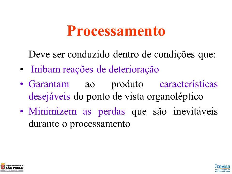 Processamento Deve ser conduzido dentro de condições que: Inibam reações de deterioração Garantam ao produto características desejáveis do ponto de vi