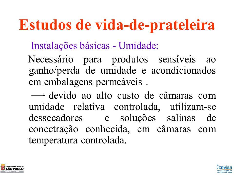 Estudos de vida-de-prateleira Instalações básicas - Umidade: Necessário para produtos sensíveis ao ganho/perda de umidade e acondicionados em embalage