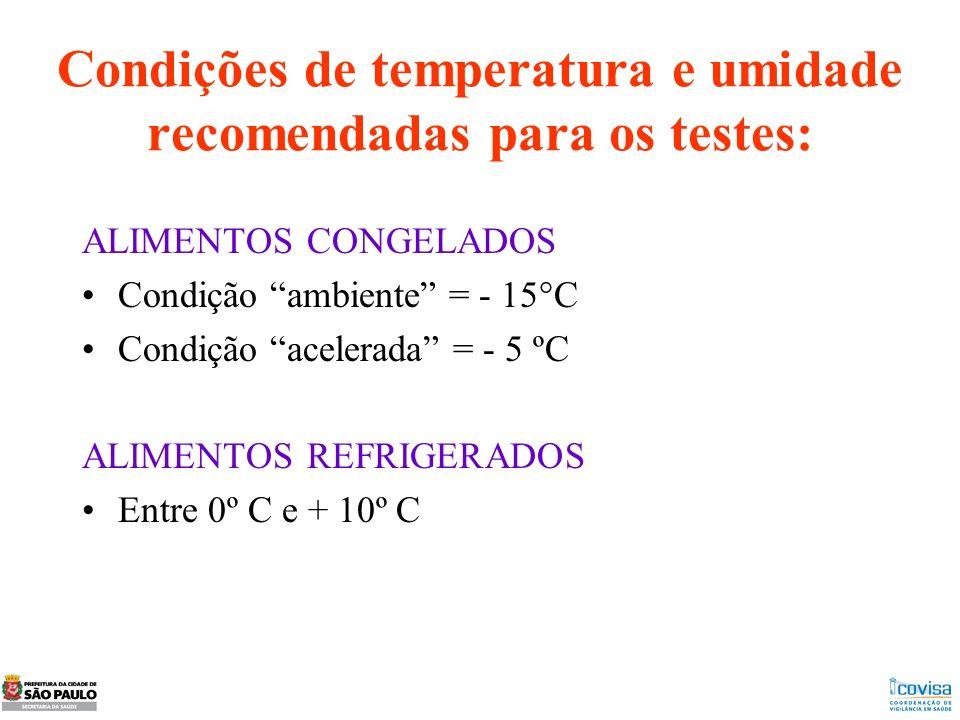 Condições de temperatura e umidade recomendadas para os testes: ALIMENTOS CONGELADOS Condição ambiente = - 15°C Condição acelerada = - 5 ºC ALIMENTOS
