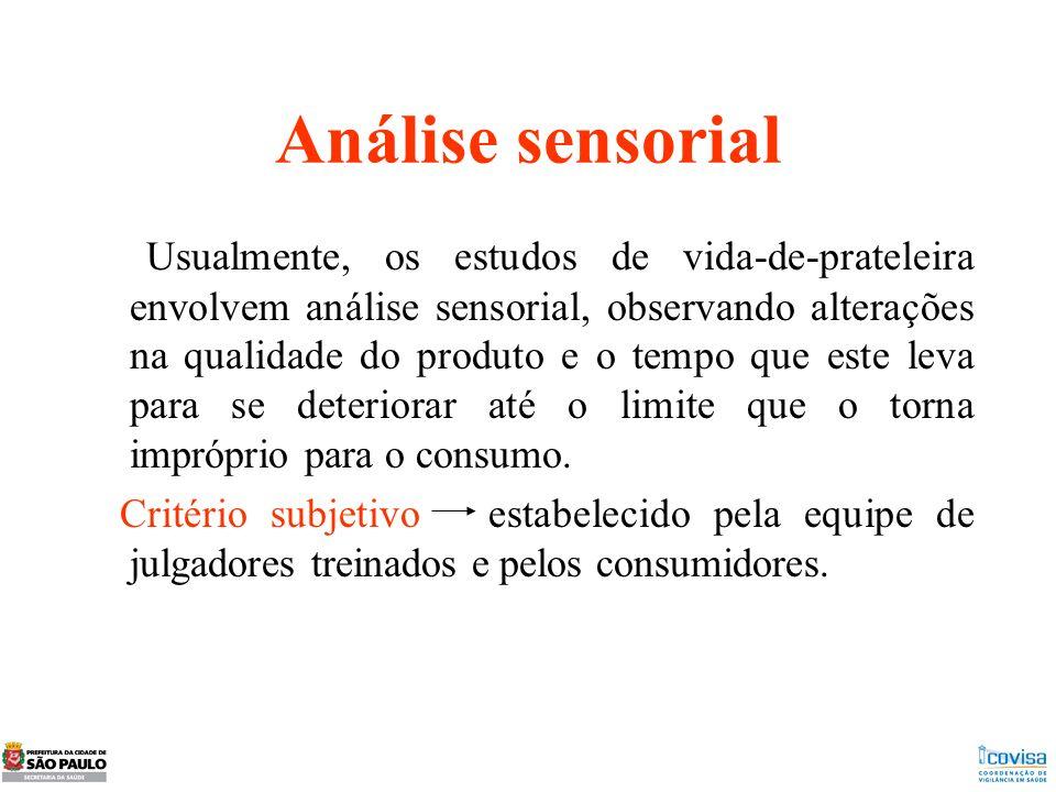 Análise sensorial Usualmente, os estudos de vida-de-prateleira envolvem análise sensorial, observando alterações na qualidade do produto e o tempo que