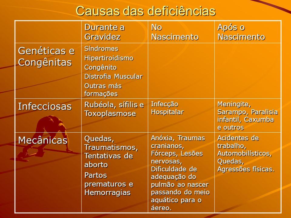 Causas das deficiências Durante a Gravidez No Nascimento Após o Nascimento Genéticas e Congênitas SíndromesHipertiroidismoCongênito Distrofia Muscular