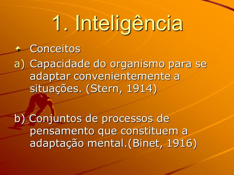 1. Inteligência Conceitos a)Capacidade do organismo para se adaptar convenientemente a situações. (Stern, 1914) b) Conjuntos de processos de pensament