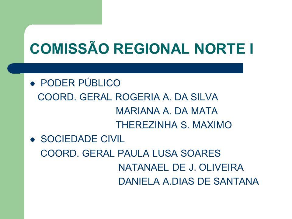 COMISSÃO REGIONAL NORTE I PODER PÚBLICO COORD. GERAL ROGERIA A. DA SILVA MARIANA A. DA MATA THEREZINHA S. MAXIMO SOCIEDADE CIVIL COORD. GERAL PAULA LU