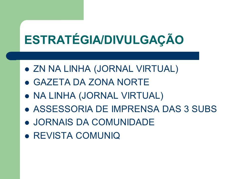 ESTRATÉGIA/DIVULGAÇÃO ZN NA LINHA (JORNAL VIRTUAL) GAZETA DA ZONA NORTE NA LINHA (JORNAL VIRTUAL) ASSESSORIA DE IMPRENSA DAS 3 SUBS JORNAIS DA COMUNID