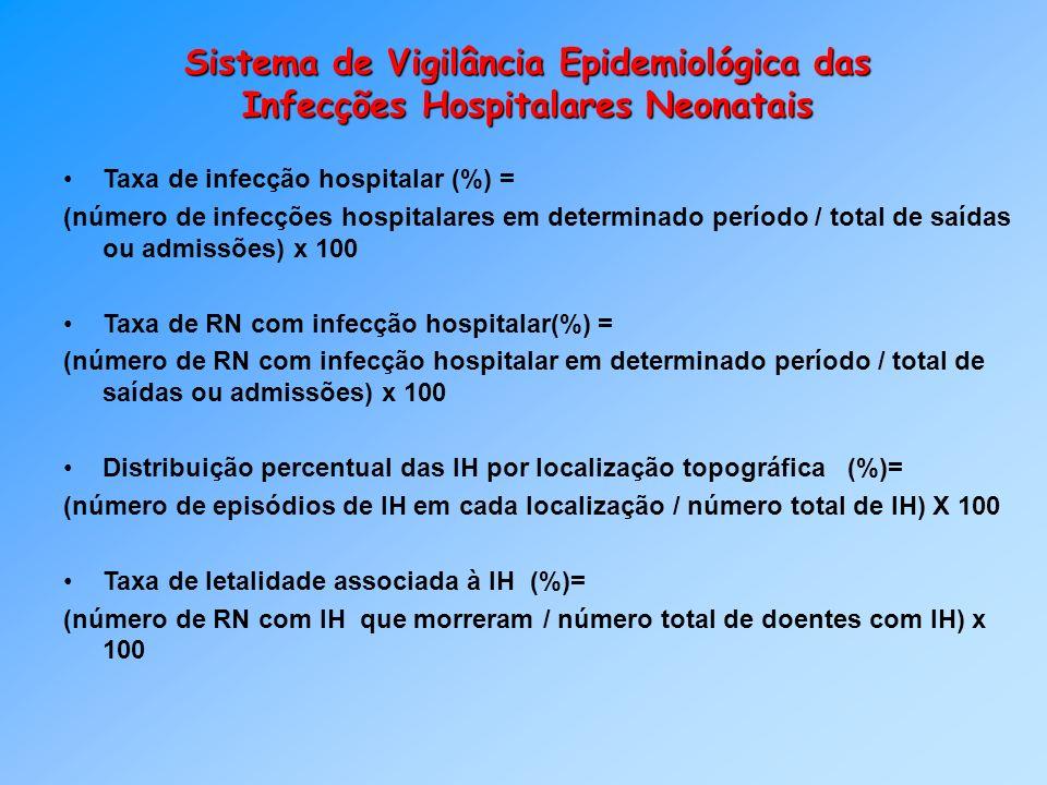 Sistema de Vigilância Epidemiológica das Infecções Hospitalares Neonatais Taxa de infecção hospitalar (%) = (número de infecções hospitalares em deter