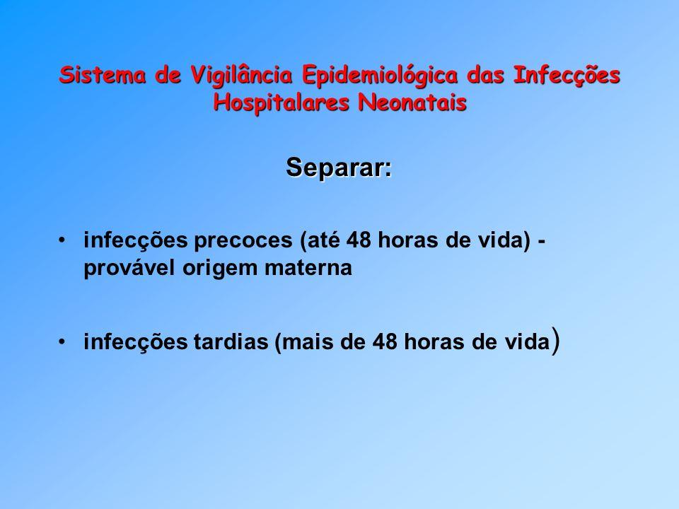 Sistema de Vigilância Epidemiológica das Infecções Hospitalares Neonatais Separar: infecções precoces (até 48 horas de vida) - provável origem materna