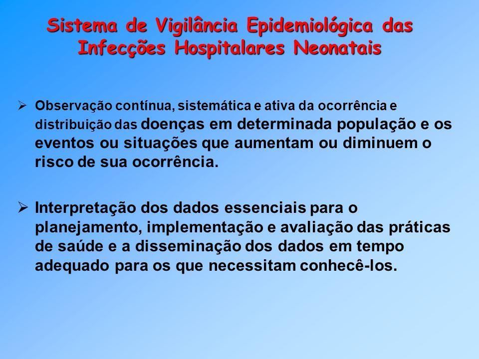 Sistema de Vigilância Epidemiológica das Infecções Hospitalares Neonatais Observação contínua, sistemática e ativa da ocorrência e distribuição das do