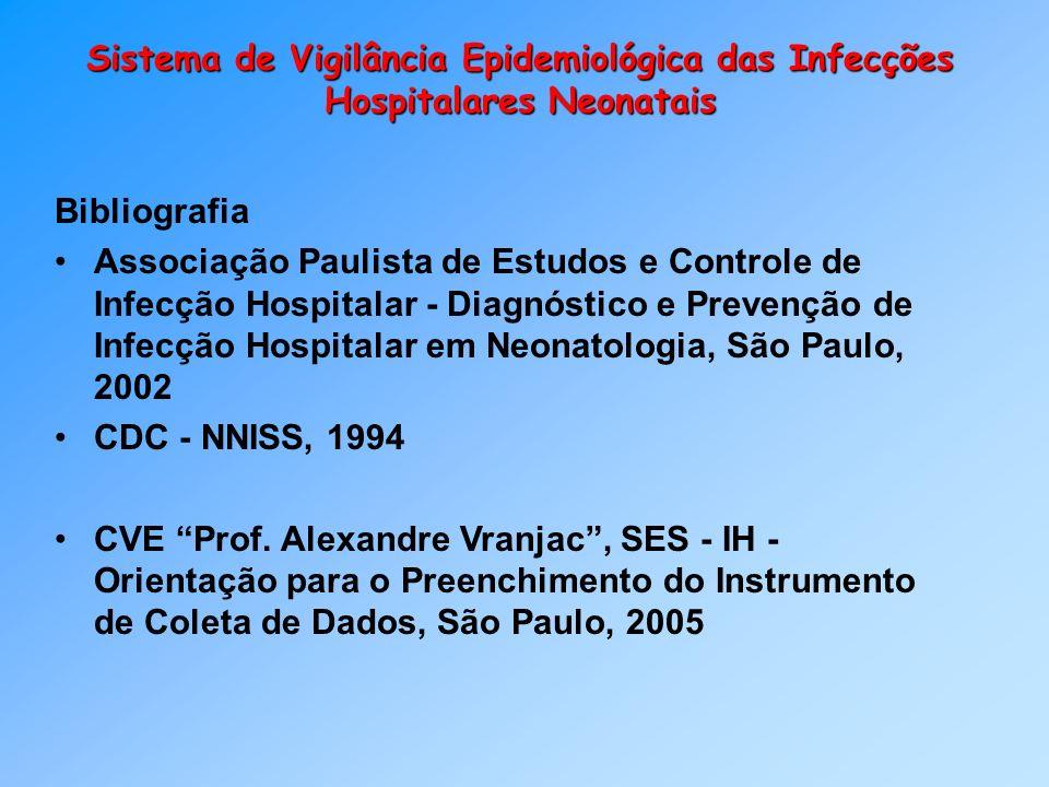 Sistema de Vigilância Epidemiológica das Infecções Hospitalares Neonatais Bibliografia Associação Paulista de Estudos e Controle de Infecção Hospitala