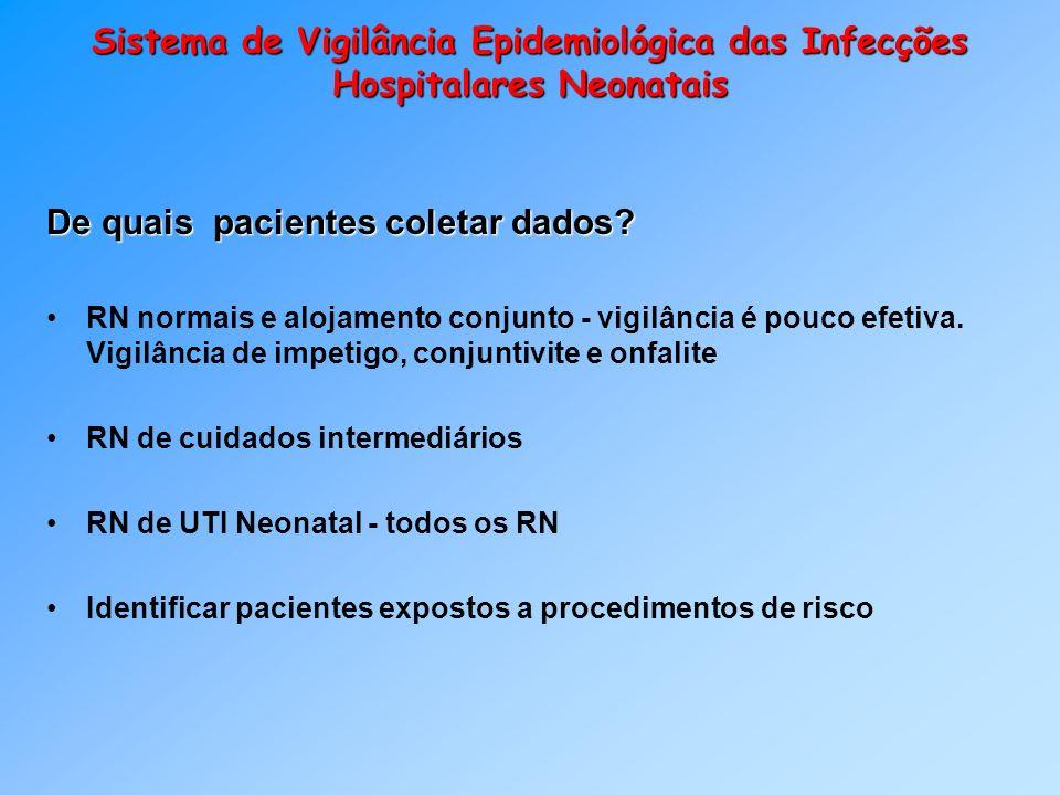 Sistema de Vigilância Epidemiológica das Infecções Hospitalares Neonatais De quais pacientes coletar dados? RN normais e alojamento conjunto - vigilân