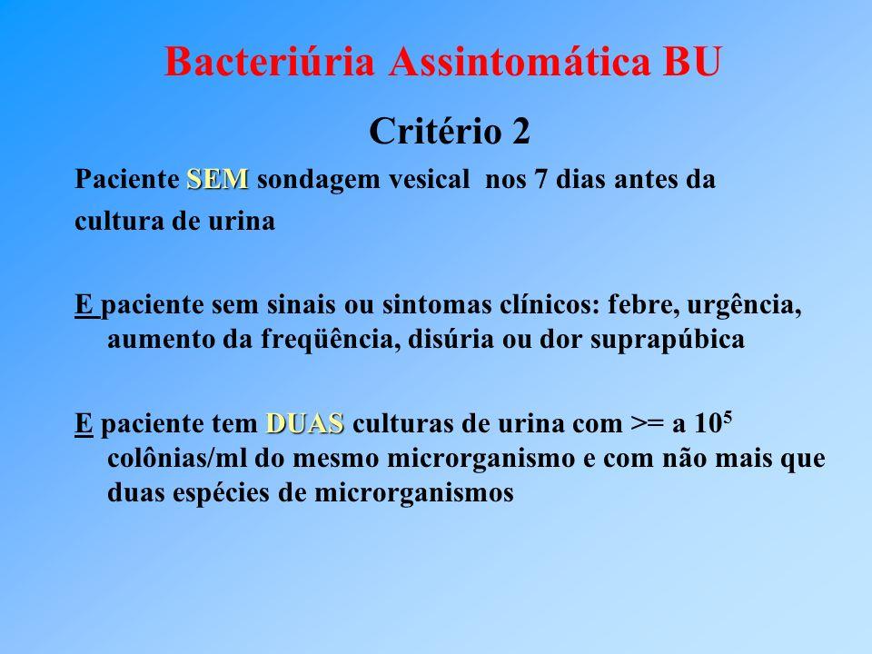 Bacteriúria Assintomática BU Critério 2 SEM Paciente SEM sondagem vesical nos 7 dias antes da cultura de urina E paciente sem sinais ou sintomas clíni