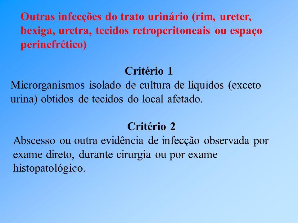Outras infecções do trato urinário (rim, ureter, bexiga, uretra, tecidos retroperitoneais ou espaço perinefrético) Critério 1 Microrganismos isolado d