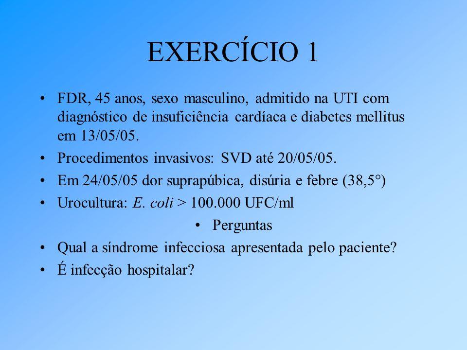 EXERCÍCIO 1 FDR, 45 anos, sexo masculino, admitido na UTI com diagnóstico de insuficiência cardíaca e diabetes mellitus em 13/05/05. Procedimentos inv