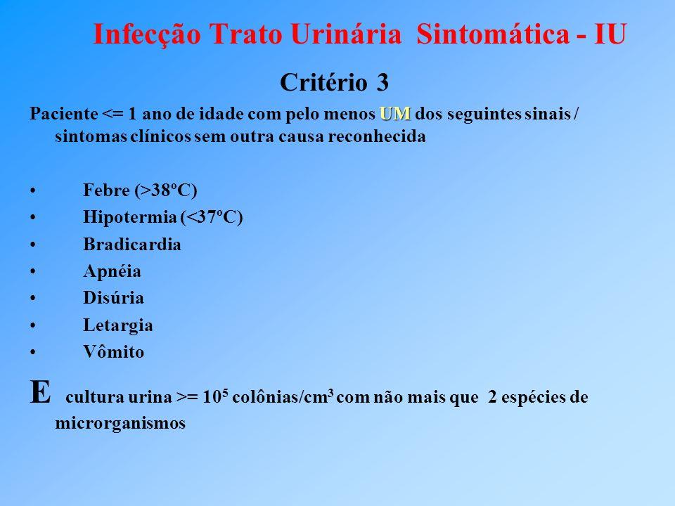 Infecção Trato Urinária Sintomática - IU Critério 3 UM Paciente <= 1 ano de idade com pelo menos UM dos seguintes sinais / sintomas clínicos sem outra