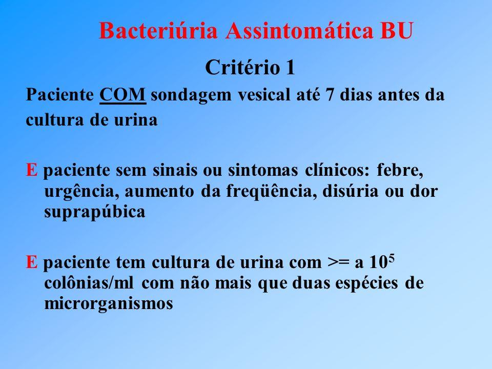 Bacteriúria Assintomática BU Critério 1 Paciente COM sondagem vesical até 7 dias antes da cultura de urina E paciente sem sinais ou sintomas clínicos: