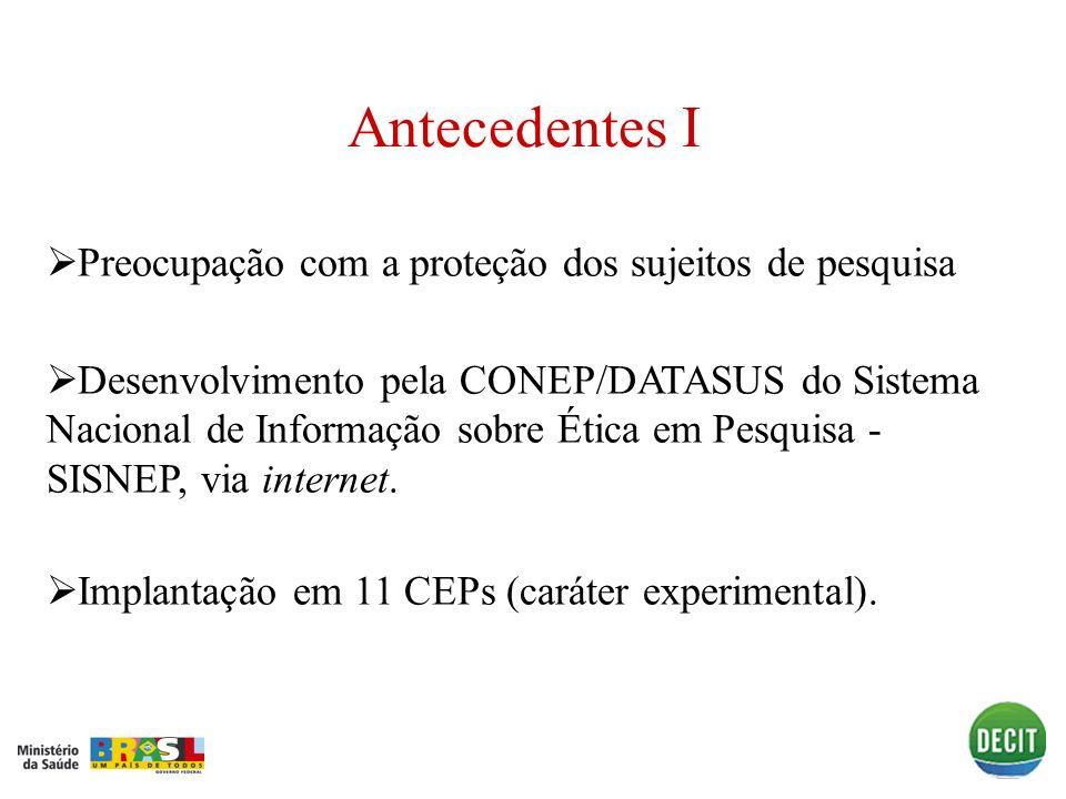 Antecedentes I Preocupação com a proteção dos sujeitos de pesquisa Desenvolvimento pela CONEP/DATASUS do Sistema Nacional de Informação sobre Ética em