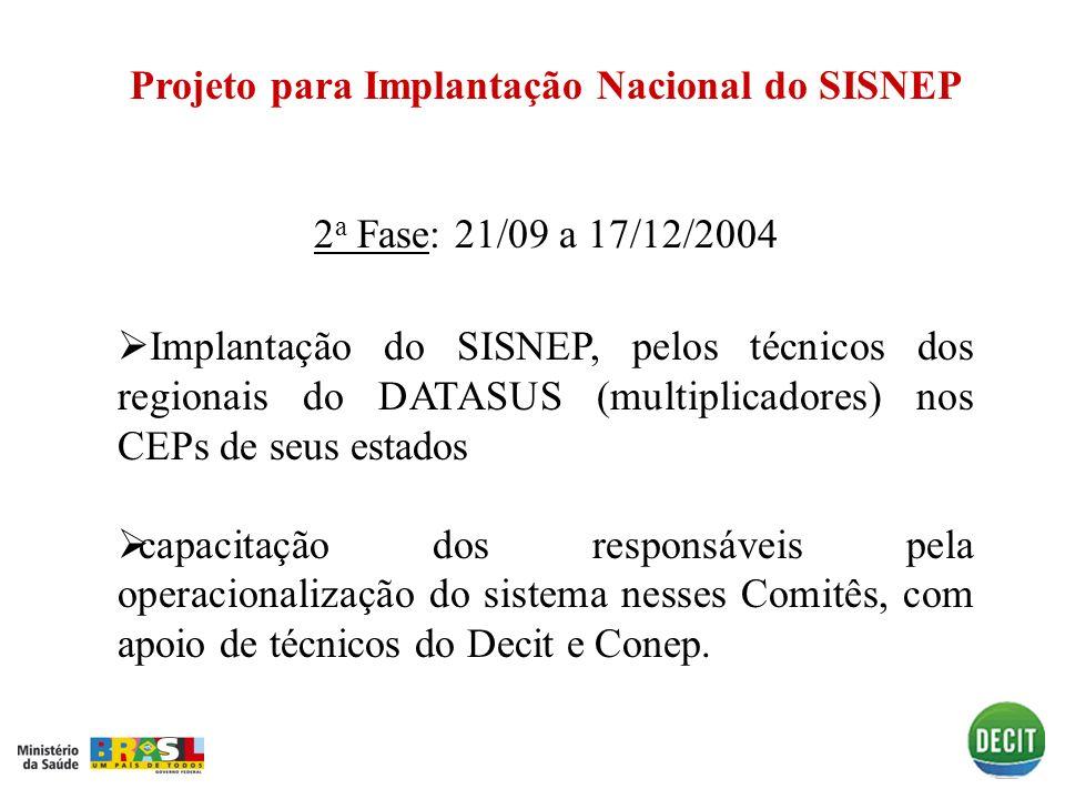 Projeto para Implantação Nacional do SISNEP 2 a Fase2 a Fase: 21/09 a 17/12/2004 Implantação do SISNEP, pelos técnicos dos regionais do DATASUS (multi