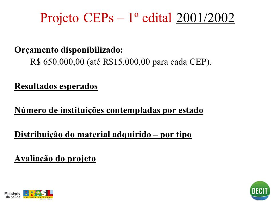 Projeto CEPs – 1º edital 2001/20022001/2002 Orçamento disponibilizado: R$ 650.000,00 (até R$15.000,00 para cada CEP). Resultados esperados Número de i