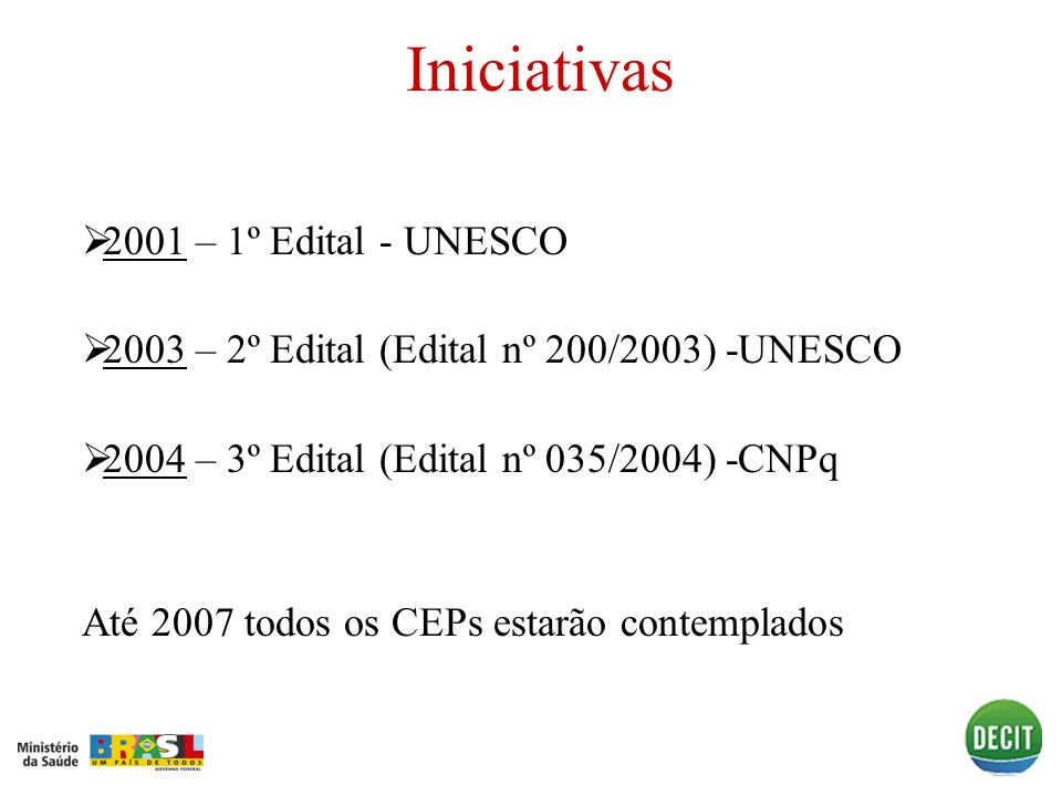 Iniciativas 2001 – 1º Edital - UNESCO 2001 2003 – 2º Edital (Edital nº 200/2003) -UNESCO 2003 2004 – 3º Edital (Edital nº 035/2004) -CNPq 2004 Até 200