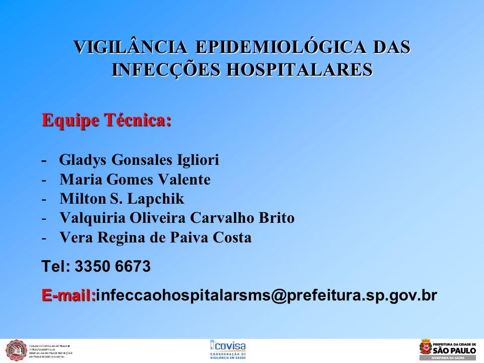 VIGILÂNCIA EPIDEMIOLÓGICA DAS INFECÇÕES HOSPITALARES Equipe Técnica: - Gladys Gonsales Igliori -Maria Gomes Valente -Milton S. Lapchik -Valquiria Oliv
