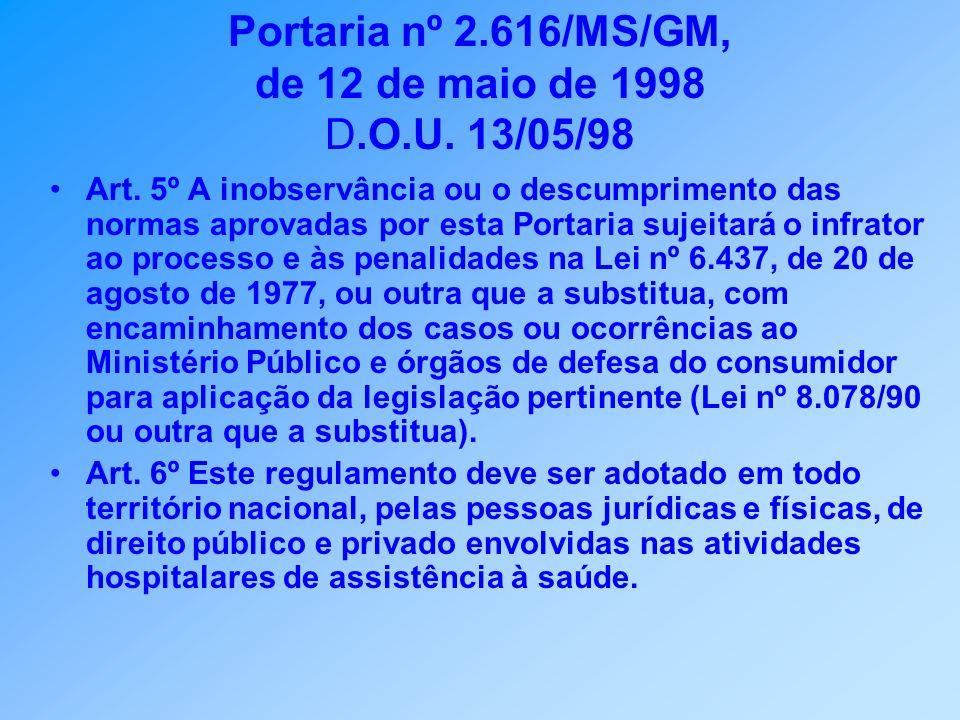 Portaria nº 2.616/MS/GM, de 12 de maio de 1998 D.O.U. 13/05/98 Art. 5º A inobservância ou o descumprimento das normas aprovadas por esta Portaria suje