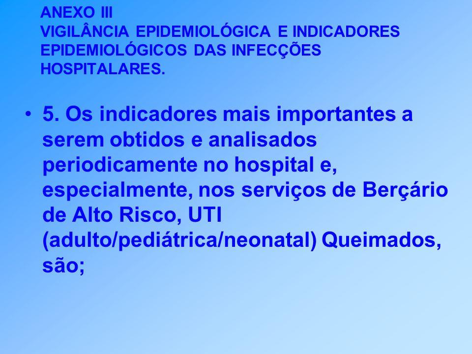ANEXO III VIGILÂNCIA EPIDEMIOLÓGICA E INDICADORES EPIDEMIOLÓGICOS DAS INFECÇÕES HOSPITALARES. 5. Os indicadores mais importantes a serem obtidos e ana