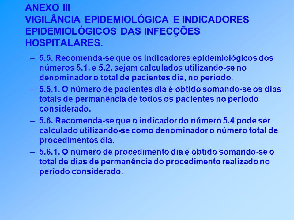 ANEXO III VIGILÂNCIA EPIDEMIOLÓGICA E INDICADORES EPIDEMIOLÓGICOS DAS INFECÇÕES HOSPITALARES. –5.5. Recomenda-se que os indicadores epidemiológicos do