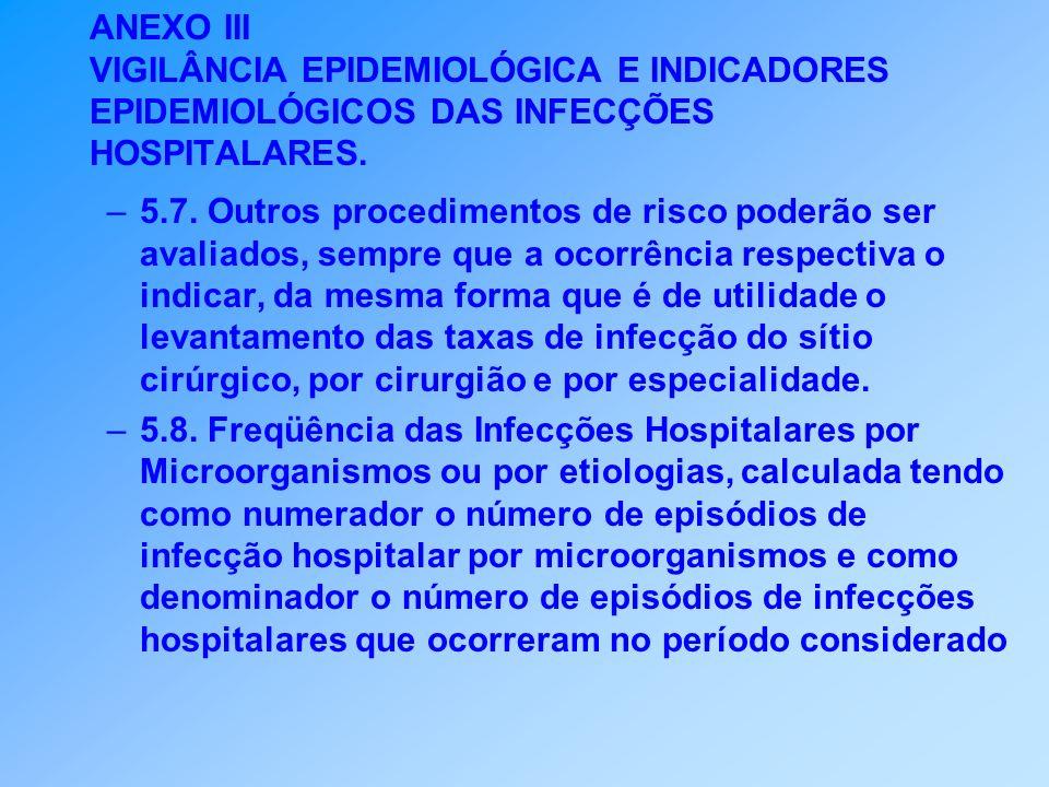 ANEXO III VIGILÂNCIA EPIDEMIOLÓGICA E INDICADORES EPIDEMIOLÓGICOS DAS INFECÇÕES HOSPITALARES. –5.7. Outros procedimentos de risco poderão ser avaliado