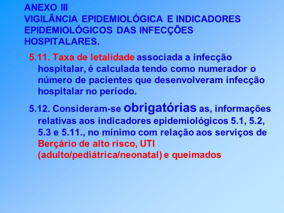 ANEXO III VIGILÂNCIA EPIDEMIOLÓGICA E INDICADORES EPIDEMIOLÓGICOS DAS INFECÇÕES HOSPITALARES. 5.11. Taxa de letalidade associada a infecção hospitalar