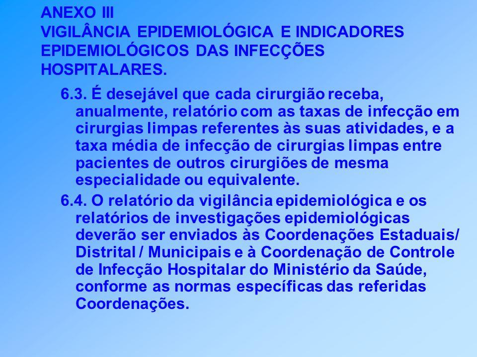 ANEXO III VIGILÂNCIA EPIDEMIOLÓGICA E INDICADORES EPIDEMIOLÓGICOS DAS INFECÇÕES HOSPITALARES. 6.3. É desejável que cada cirurgião receba, anualmente,