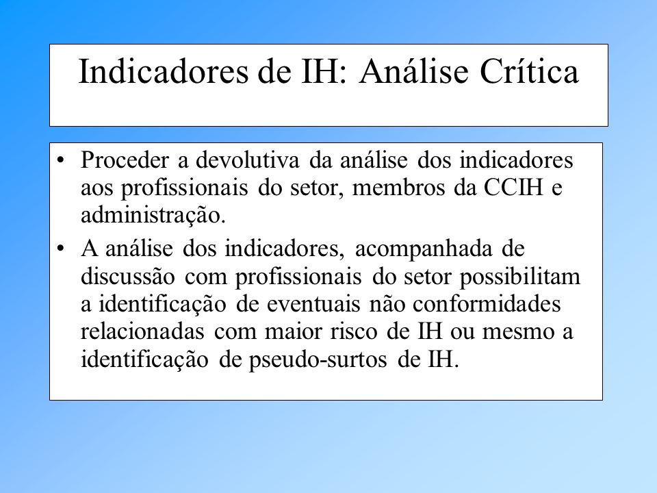 Indicadores de IH: Análise Crítica Proceder a devolutiva da análise dos indicadores aos profissionais do setor, membros da CCIH e administração. A aná