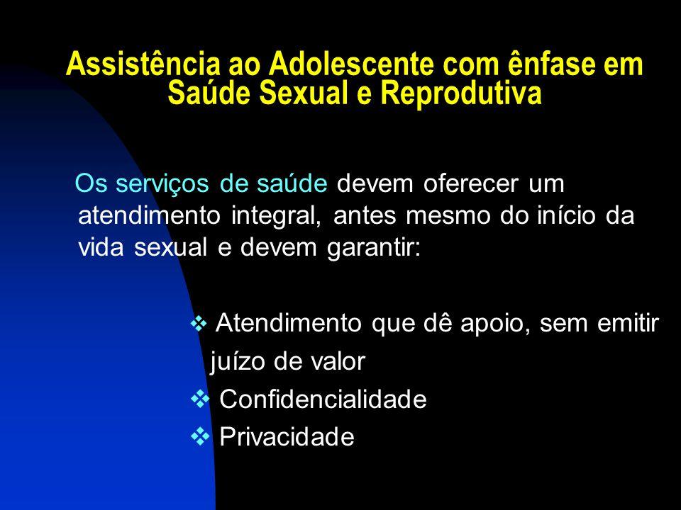 Assistência ao Adolescente com ênfase em Saúde Sexual e Reprodutiva Os serviços de saúde devem oferecer um atendimento integral, antes mesmo do início