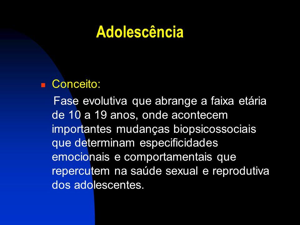 Adolescência Conceito: Fase evolutiva que abrange a faixa etária de 10 a 19 anos, onde acontecem importantes mudanças biopsicossociais que determinam