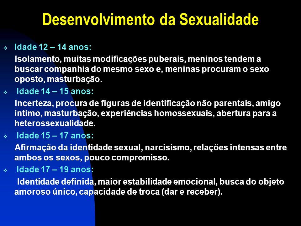 Desenvolvimento da Sexualidade Idade 12 – 14 anos: Isolamento, muitas modificações puberais, meninos tendem a buscar companhia do mesmo sexo e, menina
