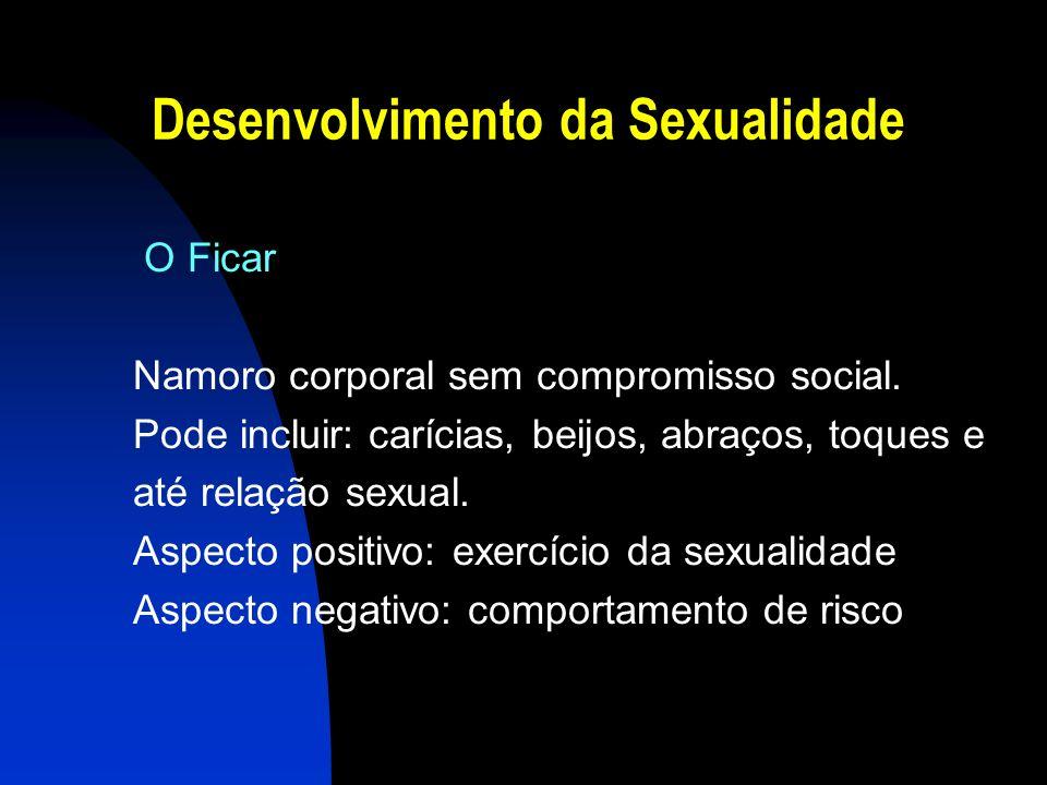 Desenvolvimento da Sexualidade O Ficar Namoro corporal sem compromisso social. Pode incluir: carícias, beijos, abraços, toques e até relação sexual. A