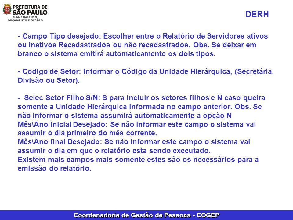 Coordenadoria de Gestão de Pessoas - COGEP - Campo Tipo desejado: Escolher entre o Relatório de Servidores ativos ou inativos Recadastrados ou não rec