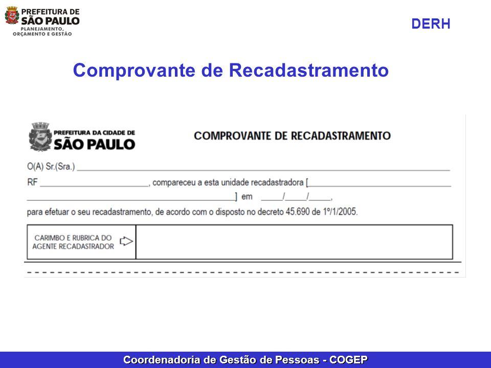 Coordenadoria de Gestão de Pessoas - COGEP Comprovante de Recadastramento DERH