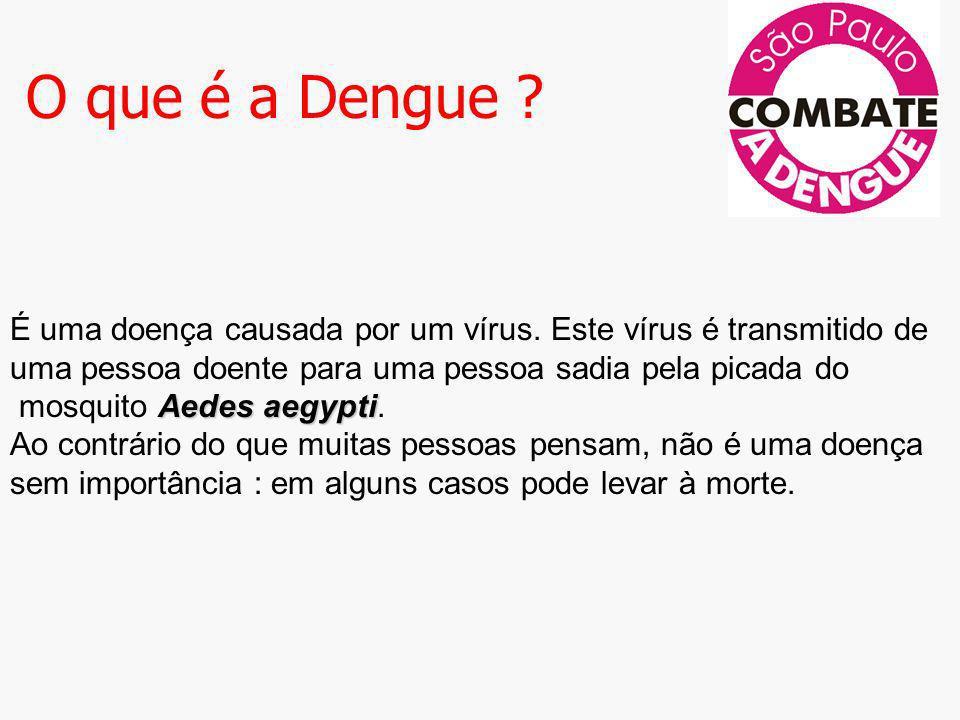 O que é a Dengue ? Aedes aegypti É uma doença causada por um vírus. Este vírus é transmitido de uma pessoa doente para uma pessoa sadia pela picada do