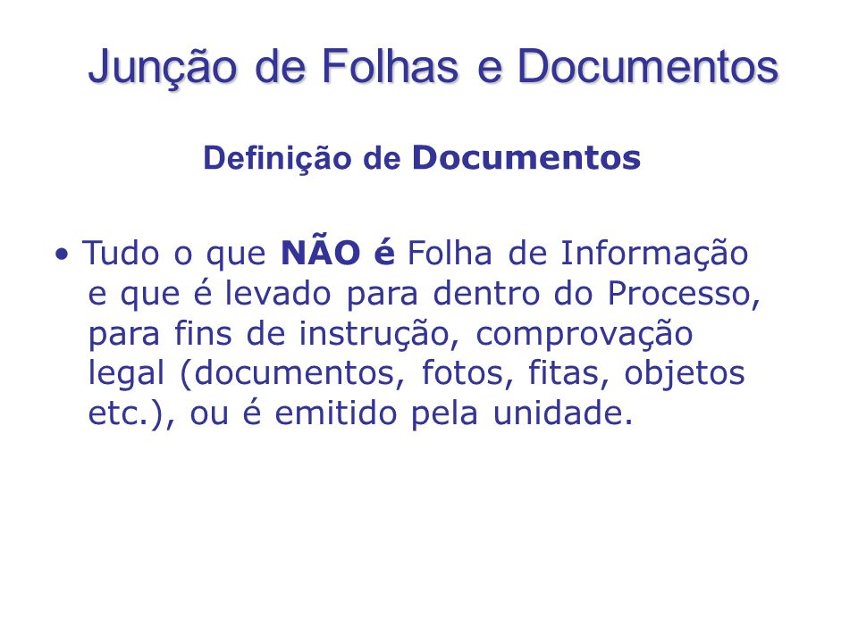 Tudo o que NÃO é Folha de Informação e que é levado para dentro do Processo, para fins de instrução, comprovação legal (documentos, fotos, fitas, obje