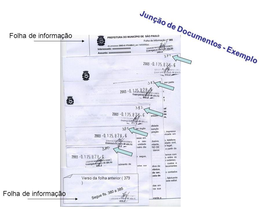 Junção de Documentos - Exemplo Folha de informação Verso da folha anterior ( 379 )