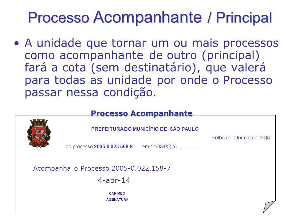Processo Acompanhante / Principal A unidade que tornar um ou mais processos como acompanhante de outro (principal) fará a cota (sem destinatário), que